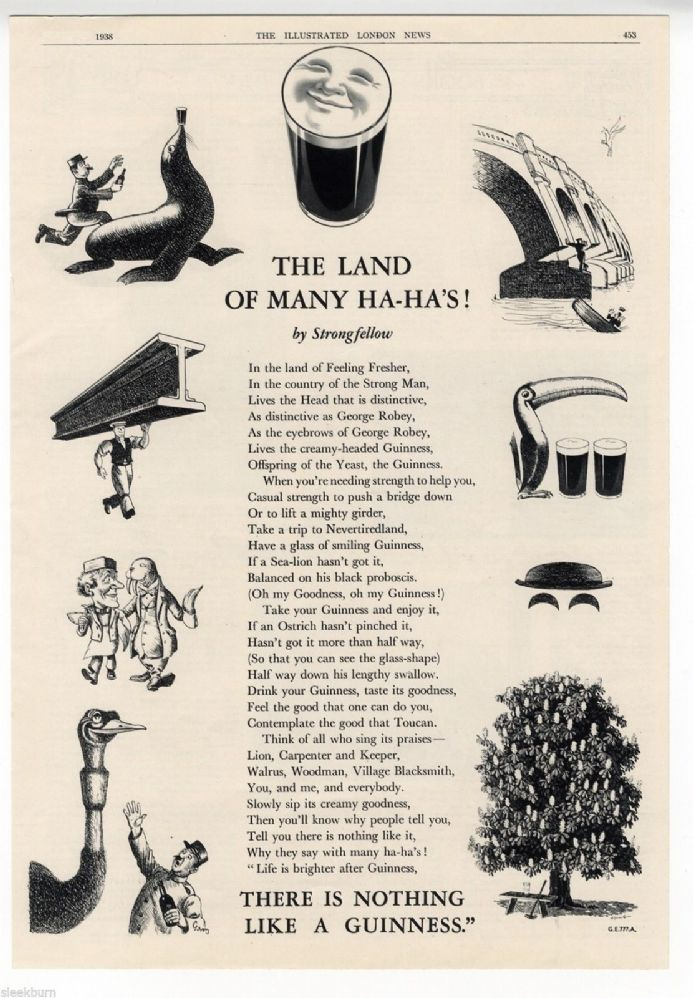 1938 GUINNESS ADVERT Land of Many Ha Ha Ditty GE777A Original Newspaper Print